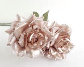 Gold Vase Centerpiece Rose Gold Flower Silk Flowers Wedding Rose Gold Blossom