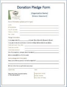 Pledge Sheets For Fundraising Template by Sle Donation Pledge Form Printable Forms