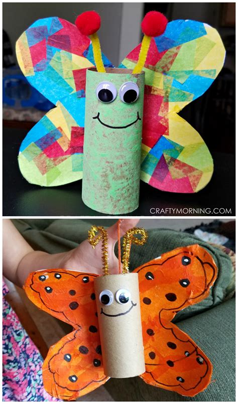 Paper Rolls Crafts - cardboard butterfly craft for to make