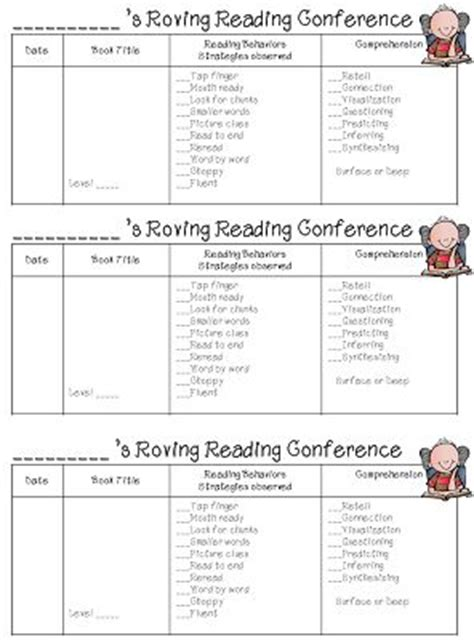 reading conference themes guided reading conference forms for teachers anecdotal