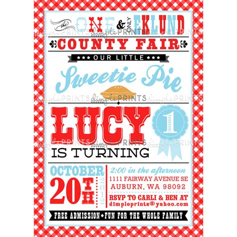 sweetie pie county fair birthday party invite dimple