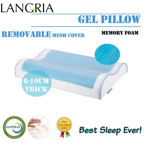 langria certified memory foam bed pillow with removable comfort cool gel standard contour bed pillow memory foam