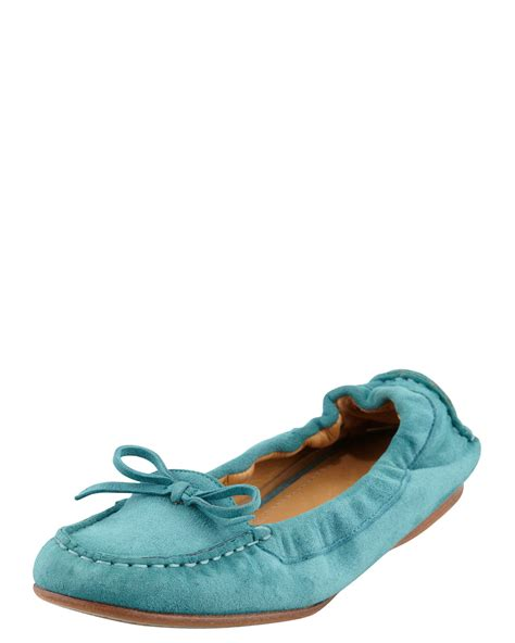 flat turquoise shoes giorgio armani suede scrunchcollar flat turquoise in blue