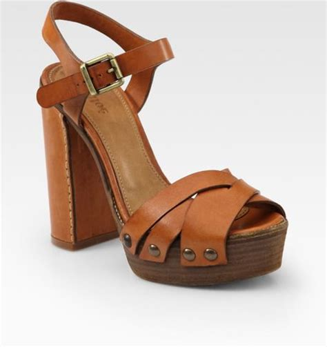 wooden sole sandals chlo 233 leather wooden sole platform sandals in brown
