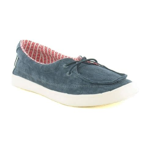hey dude ferrara womens canvas slip on deck shoe navy blue