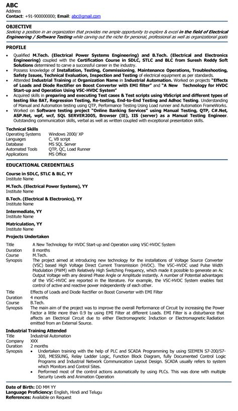cv format for fresher engineer electric engineer professional resume sles