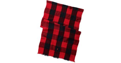 Polo Square Checked Black polo ralph buffalo check wool scarf in for