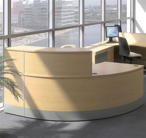 Curved Reception Desk Reception Desk With Wooden Finish Curved Reception Desk