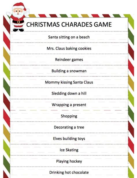 printable christmas charades christmas fun games activities recipes more