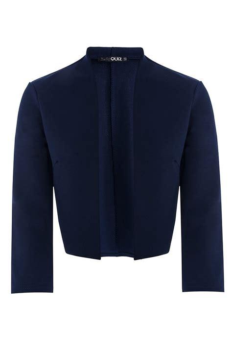 Jaket Crop Navy Jaket Hoodie Wanita Sweater Hoodie Diskon quiz navy 3 4 sleeve crop jacket in blue navy lyst