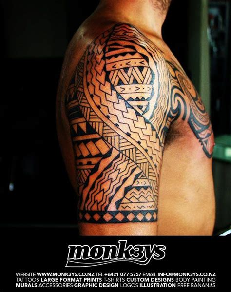 tribal chest and half sleeve tattoo polynesian half sleeve tattoos polynesian maori half