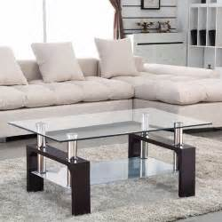 Living Room Tables Glass Coffee Table Shelf Rectangular Chrome Walnut Wood