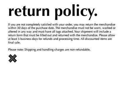 shipping and returns policy template return policy
