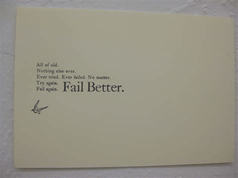 fail better quot fail better quot quote card at quot markings quot exhibition the