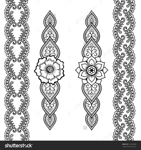 henna tattoo application set of seamless borders for design and application of