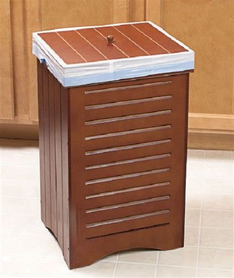 decorative recycling containers for home new wooden kitchen trash bin brown holds 30 gallon bag