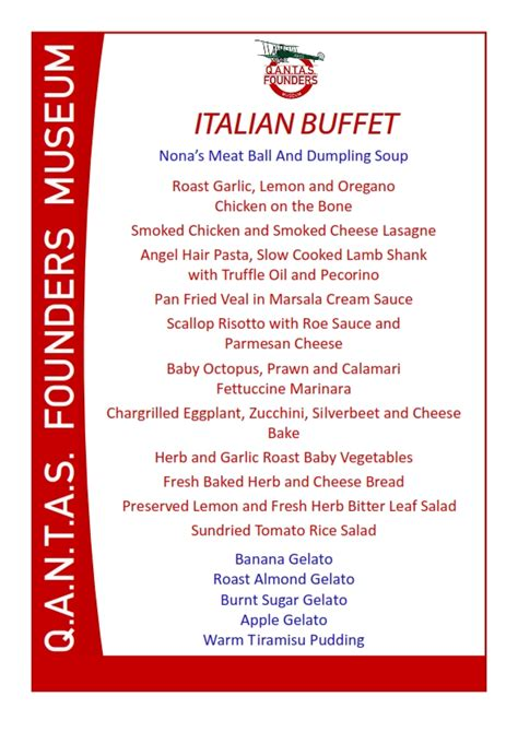 italian dinner menu quot italian quot themed buffet dinner qantas founders museum