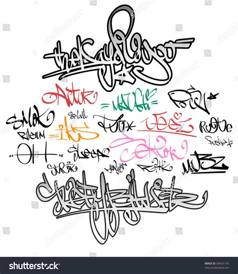 graffiti placas graffiti tags stock vector 89431195 shutterstock