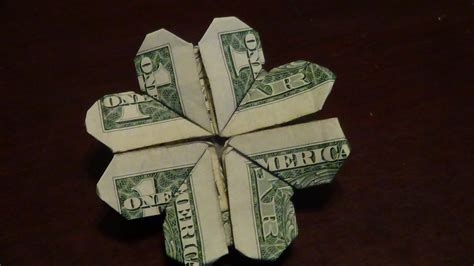 origami one dollar bill dollar origami shamrock tutorial how to make a dollar