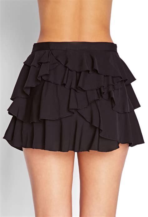 Black Lussile Katun Mini Dress lyst forever 21 ruffled mini skirt in black