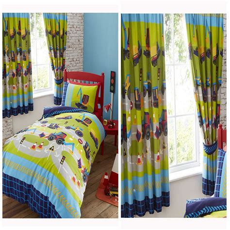 single duvet covers and matching curtains diggers duvet cover set in single matching lined curtains