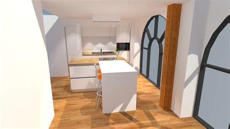 Incroyable Cuisine Laquee Blanche Plan De Travail Gris #8: Cuisine-blanche-et-bois-avec-ilot.jpg