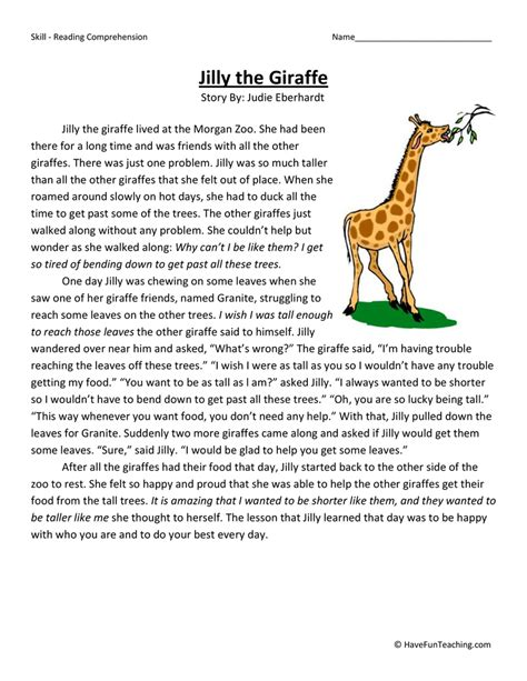 3rd Grade Reading Comprehension Worksheets by Jilly The Giraffe Reading Comprehension Worksheet