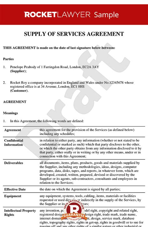 Contract For Provision Of Services Template