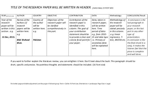 How To Make Review Paper - literature review table how to write a research paper s