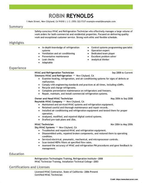 Resume Hvac Service Technician by Sle Resume For Field Service Technician Resume