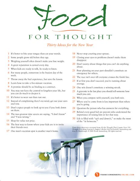 food for thought poster 30 ideas for the new year
