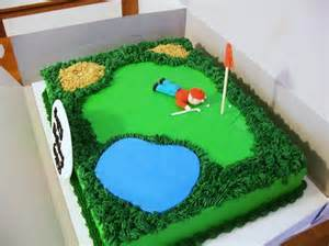 Golf Cake Decorations Golf Course Cake W Golfer Cakes By Maureen