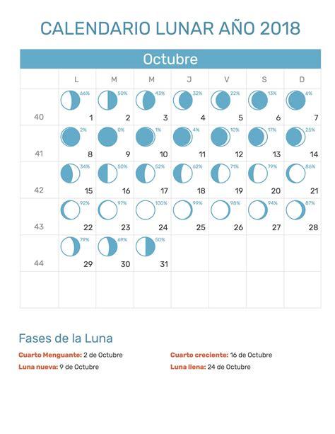 calendario perpetuo fases lunares calendario lunar del mes de octubre a 241 o 2018 con fases de