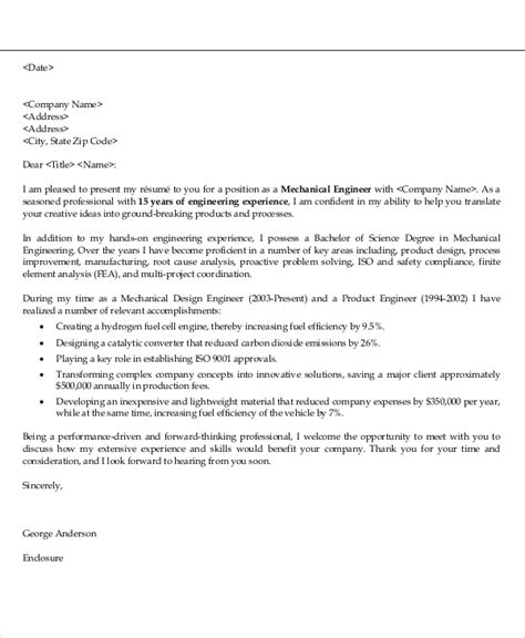 Cover Letter For Application Mechanical Engineer Application Letter Sle For Engineering