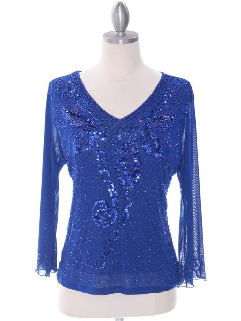 Royal Blue Beaded Top Sung Boutique L A