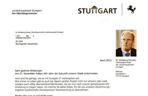 Bewerbung Fur Wohnung Brief Gef 228 Lschtes Stuttgart 21 Schreiben Gef 228 Lschter Ob Brief Verunsichert B 252 Rger Stuttgart 21