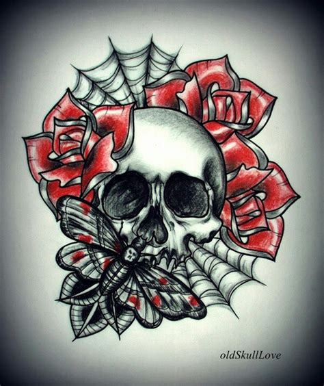 spider web and rose tattoos spider web skull pencil and in color spider