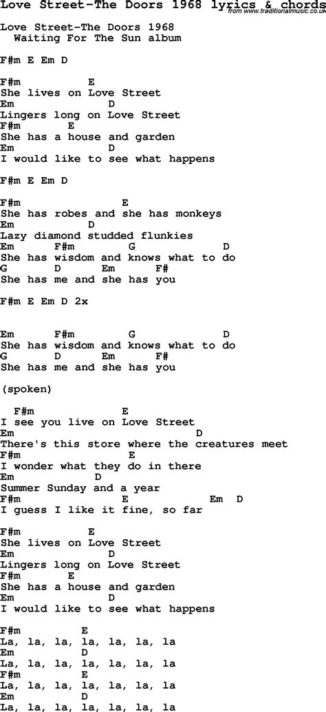 printable lyrics to love is an open door love song lyrics for love street the doors 1968 with chords