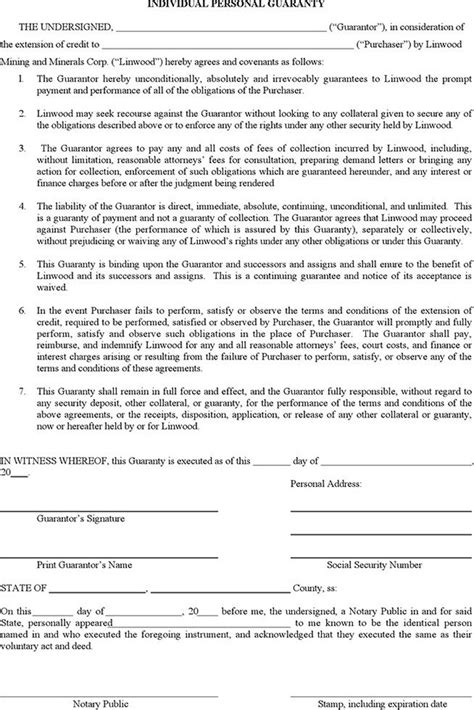 guarantee form template personal guarantee form free premium