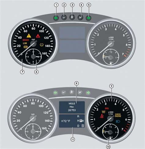 mercedes indicator lights mercedes w164 m class dash warning light guide