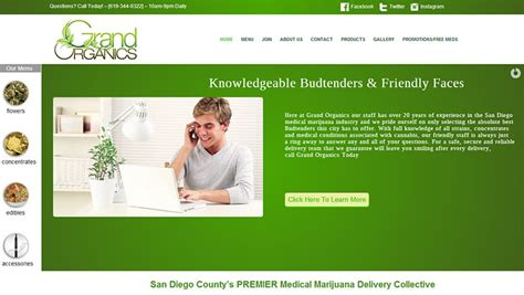 Grand Organics San Diego County S Premier Medical Marijuana Delivery Collective Marijuana Website Templates