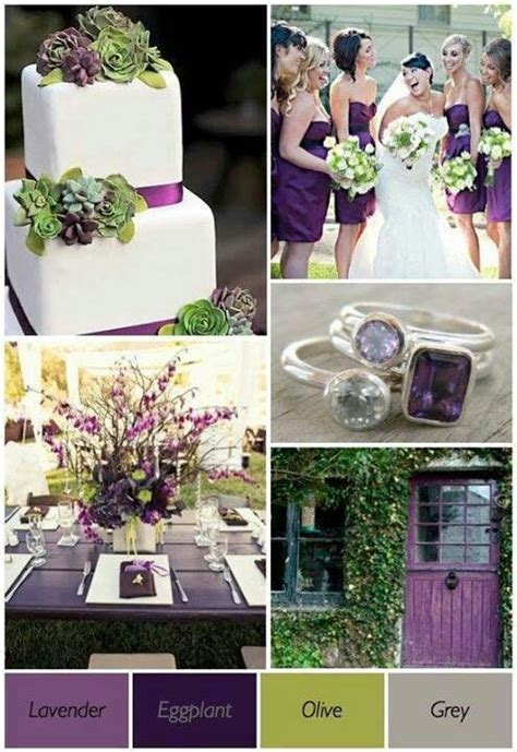 olive eggplant and gray wedding palette my