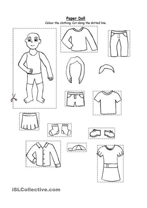 paper doll clothing for kindergarten and 1st graders