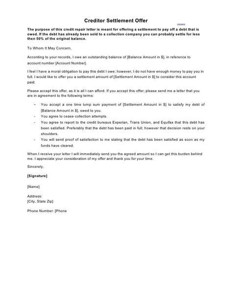 Credit Card Satisfaction Letter Template by Creditor Settlement Offer The Purpose Of This Credit