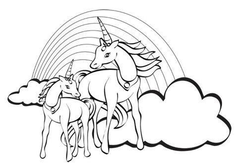 unicorn with rainbow coloring page two unicorn with a rainbow at their back coloring page