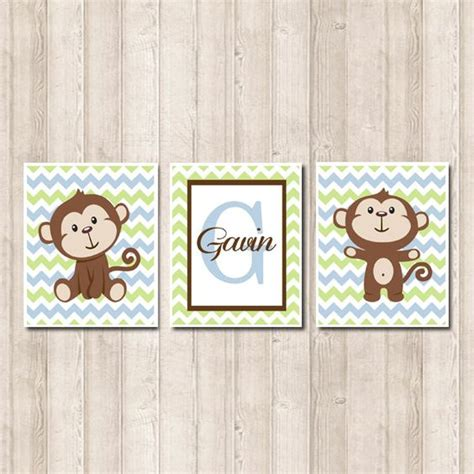 Monkey Nursery Decor Boy Monkey Nursery Monkey Nursery Decor Cehvron Monogram Baby Blue Nursery Honeydew Monkey