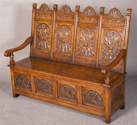 oak monks bench seat carved oak hall seat monks bench antiques atlas