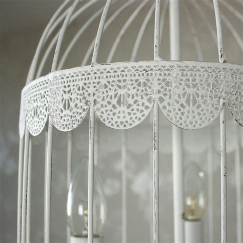 White Cage Chandelier White Metal Chandelier Birdcage Ceiling Light Fitting