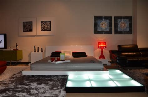 platform bed  lights galaxy contemporary style