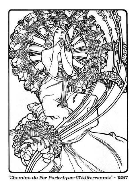 alphonse mucha coloring pages coloriage alphonse mucha